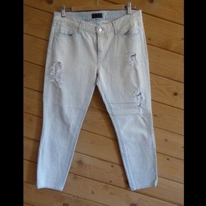 KORAL ICE Crop Relaxed Skinny Distressed Jeans 27